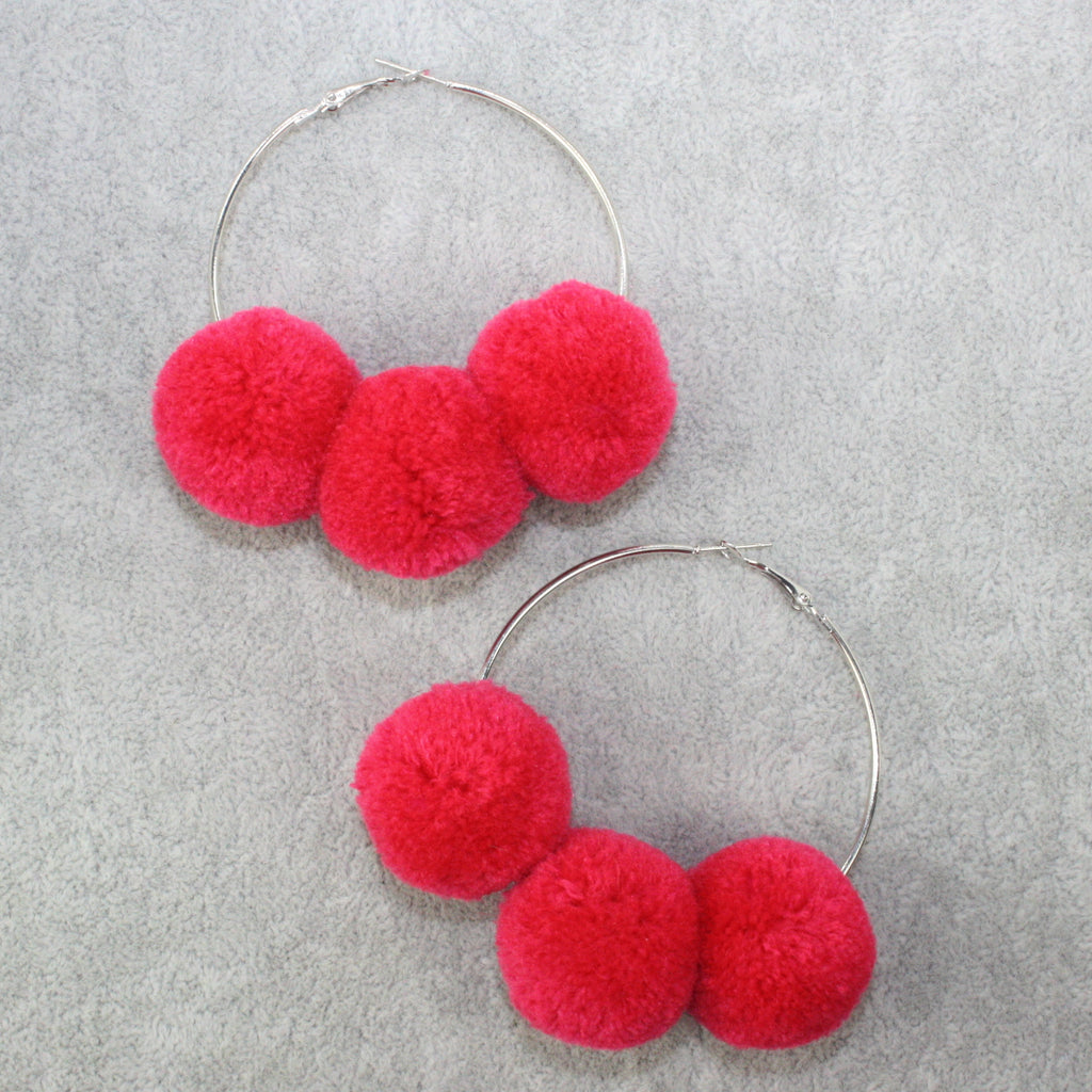 Pink Pom Pom Hoop Earrings - Sour Cherry