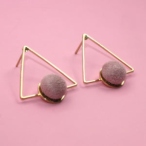 Pink Pom Pom Triangle Studs - Sour Cherry