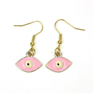 Enamelled Eye Earrings - Sour Cherry