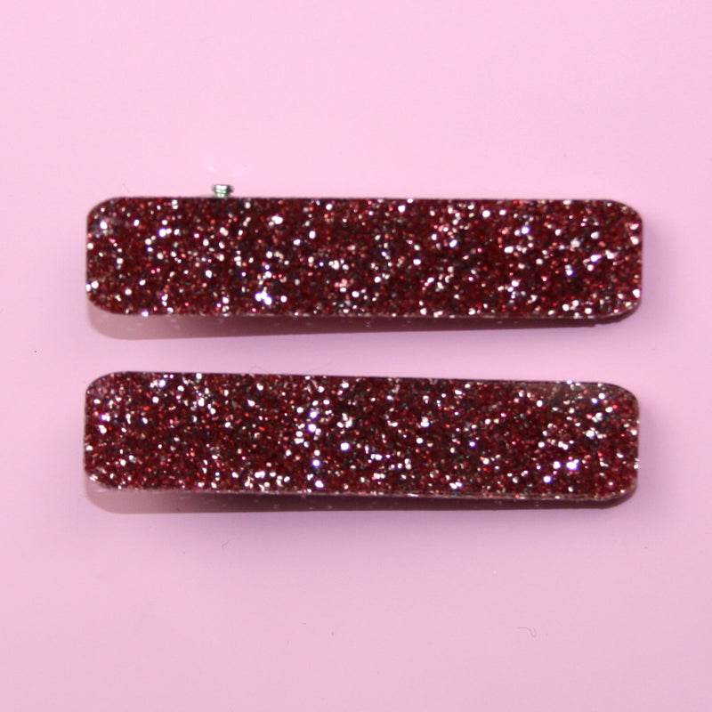 Pink Glitter Hair Clips - Sour Cherry