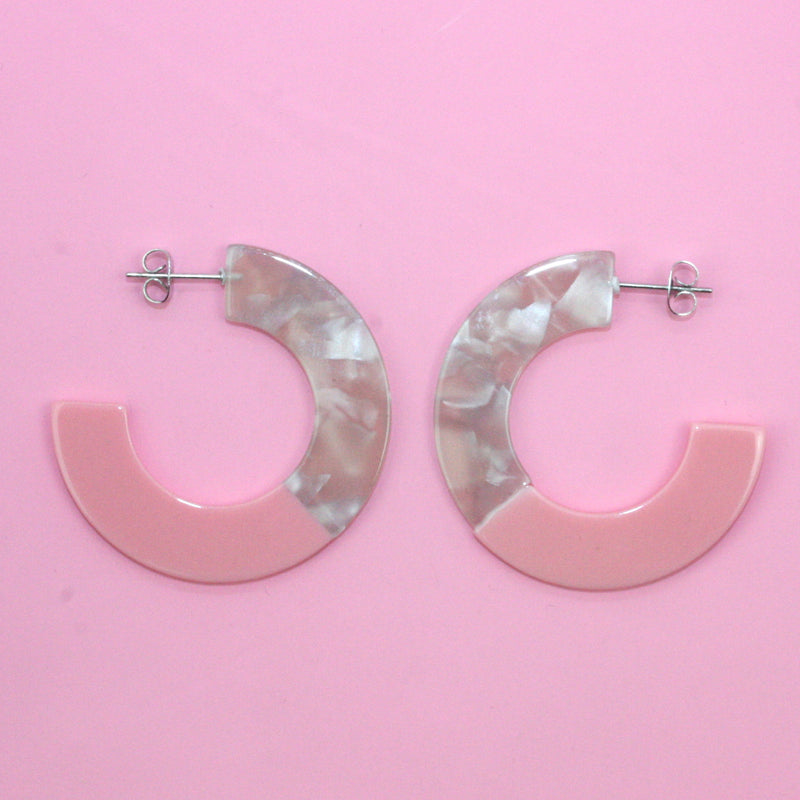 Pink & Grey Circle Hoop Earrings - Sour Cherry