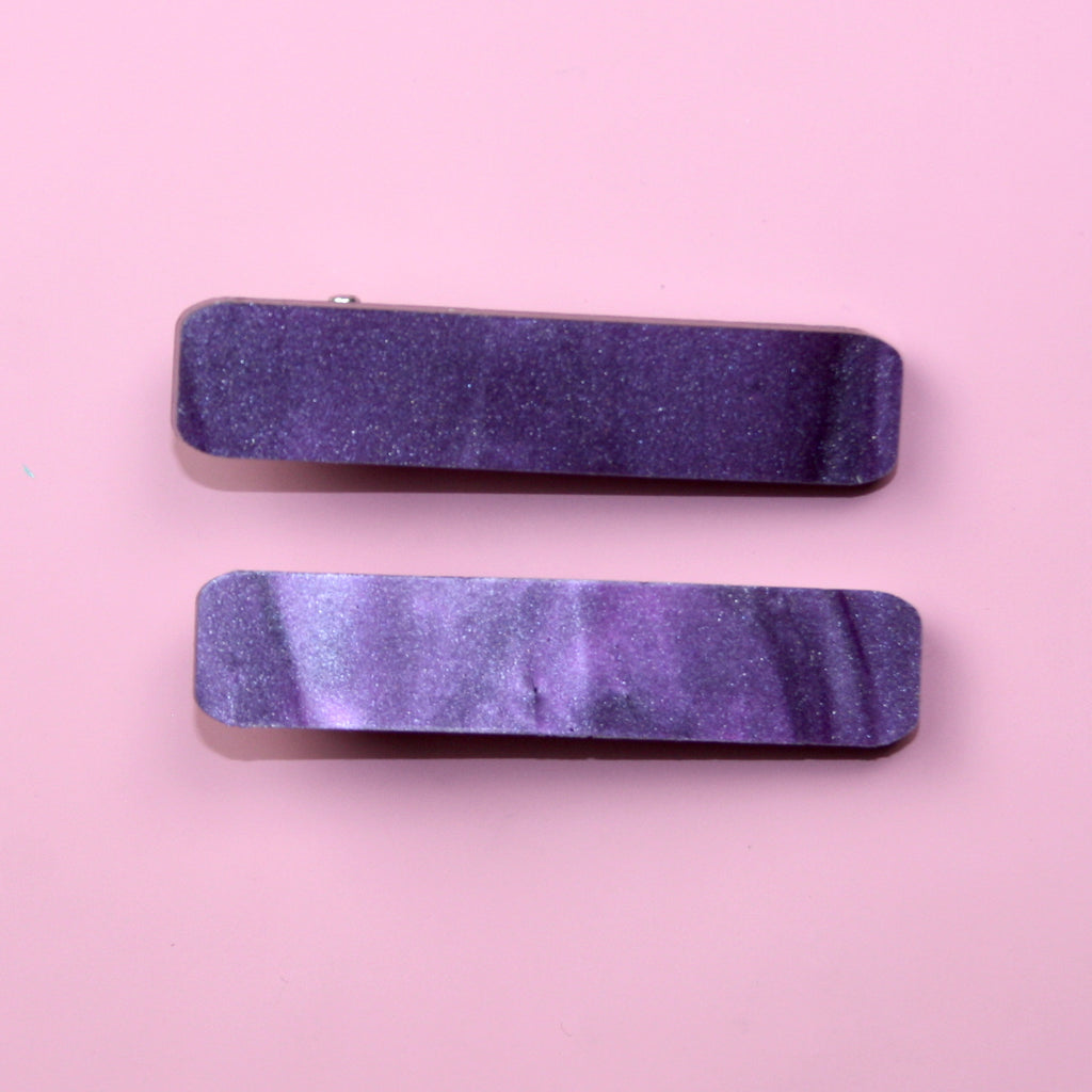 Purple Marble Hair Clips