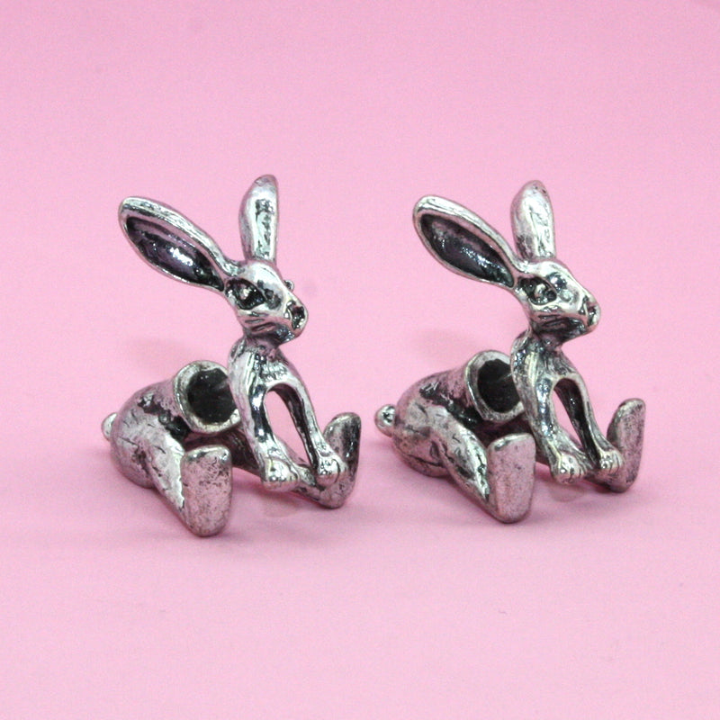 Rabbit 2 Piece Stud Earrings - Sour Cherry