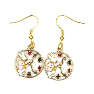 Tick Tock On The Rabbit Clock Earrings - Sour Cherry