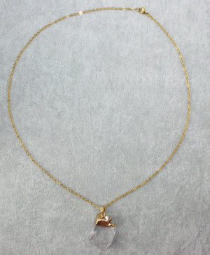 Raw	Clear Quartz & Gold Leaf Necklace - Sour Cherry