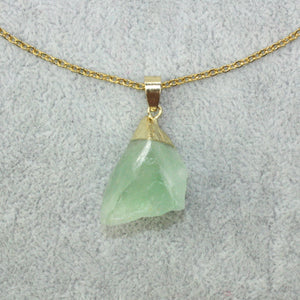 Raw	Coloured Fluorite & Gold Leaf Necklace - Sour Cherry
