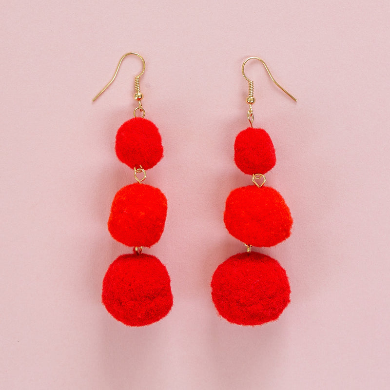 Red Triple Pom Pom Drop Earrings - Sour Cherry