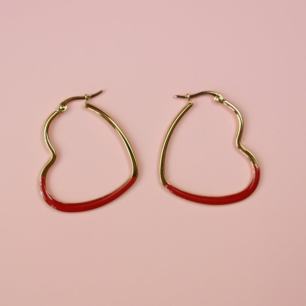 Red Enamel Heart Hoop Earrings (Gold Plated)