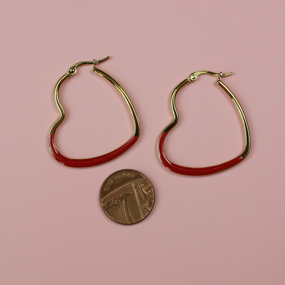 Load image into Gallery viewer, Red Enamel Heart Hoop Earrings (Gold Plated) - Sour Cherry