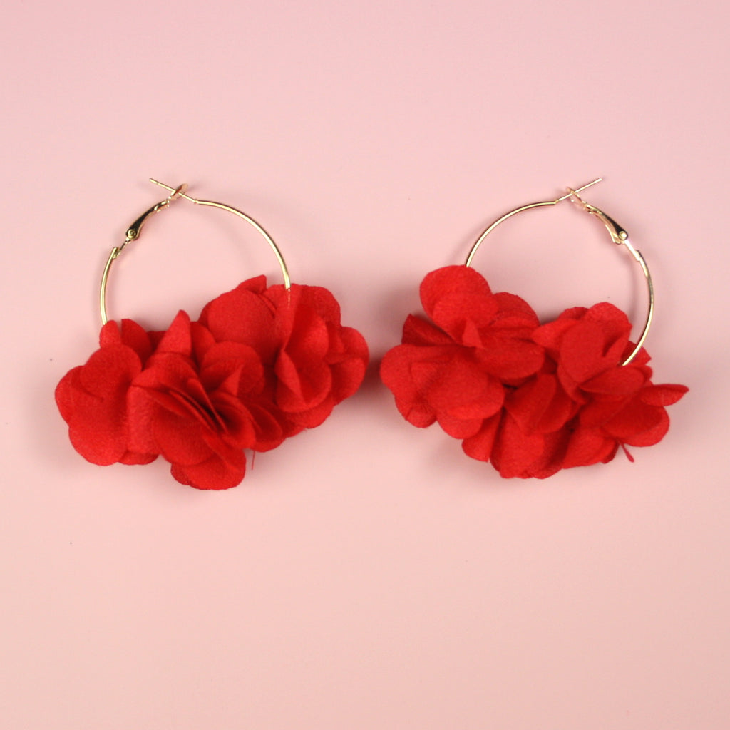 Red Flower Hoop Earrings