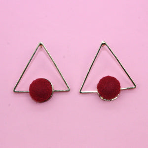 Red Pom Pom Triangle Studs - Sour Cherry