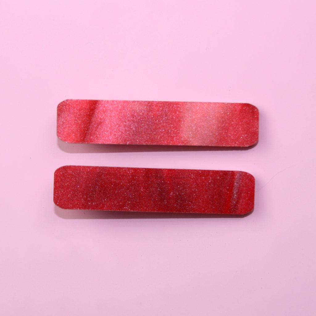 Red Marble Hair Clips
