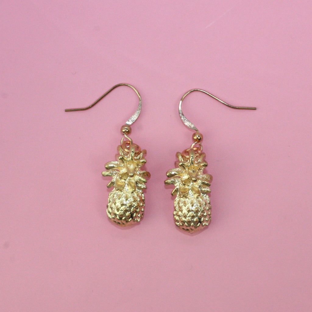 Rose Gold 3D Pineapple Earrings - Sour Cherry