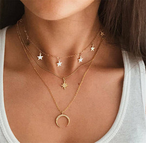 Moon and Star Layered Necklace - Sour Cherry