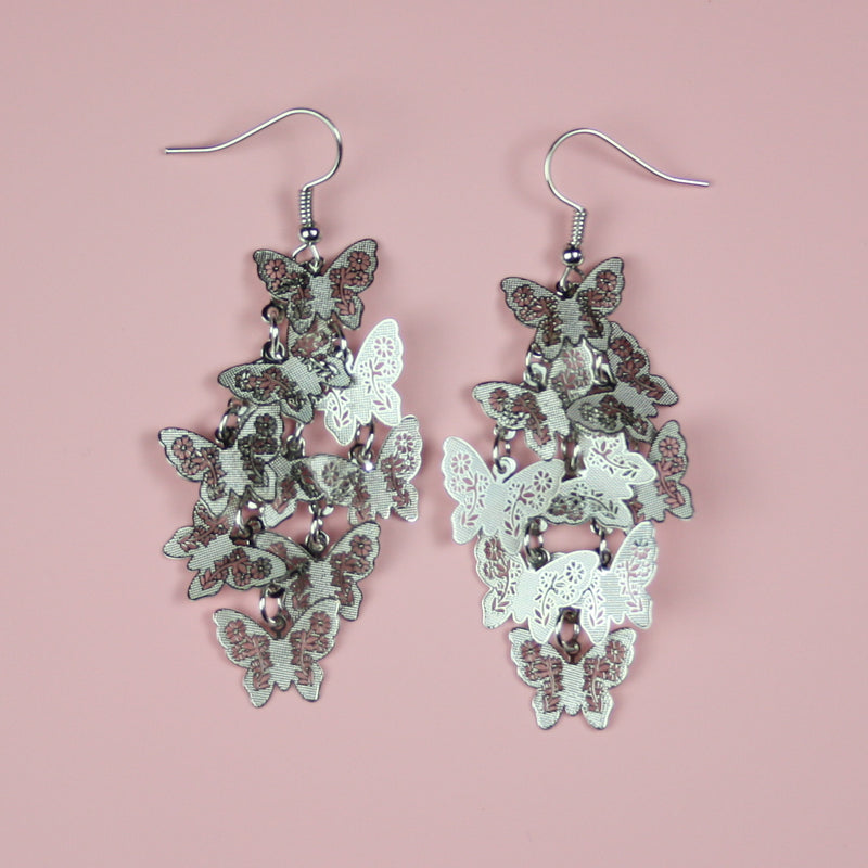 Silver Butterfly Earrings - Sour Cherry