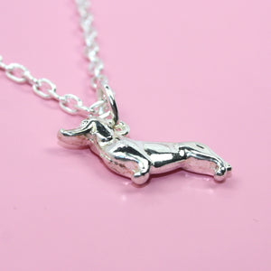 Dachshund/Sausage Dog Necklace (Silver Plated) - Sour Cherry