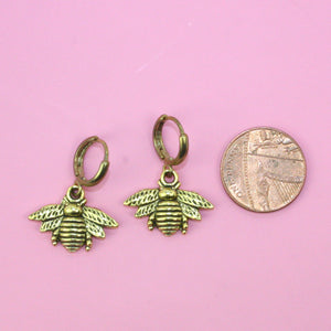 Small Bee Hoop Earrings - Sour Cherry