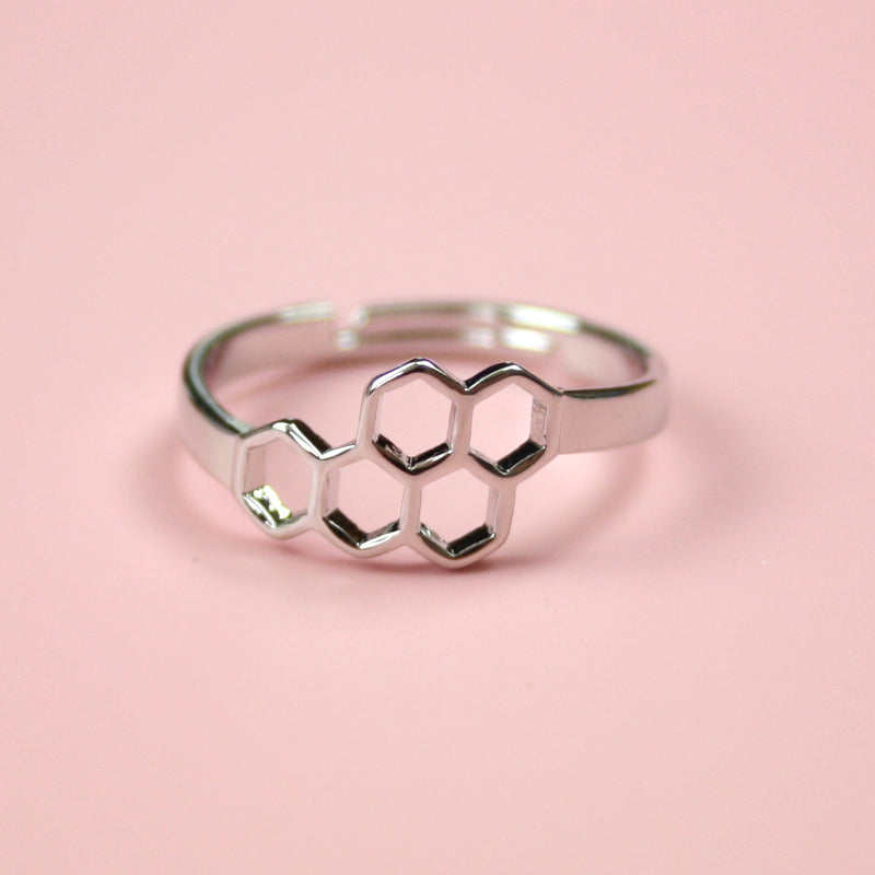 Small Honeycomb Ring (Silver Plated) - Sour Cherry