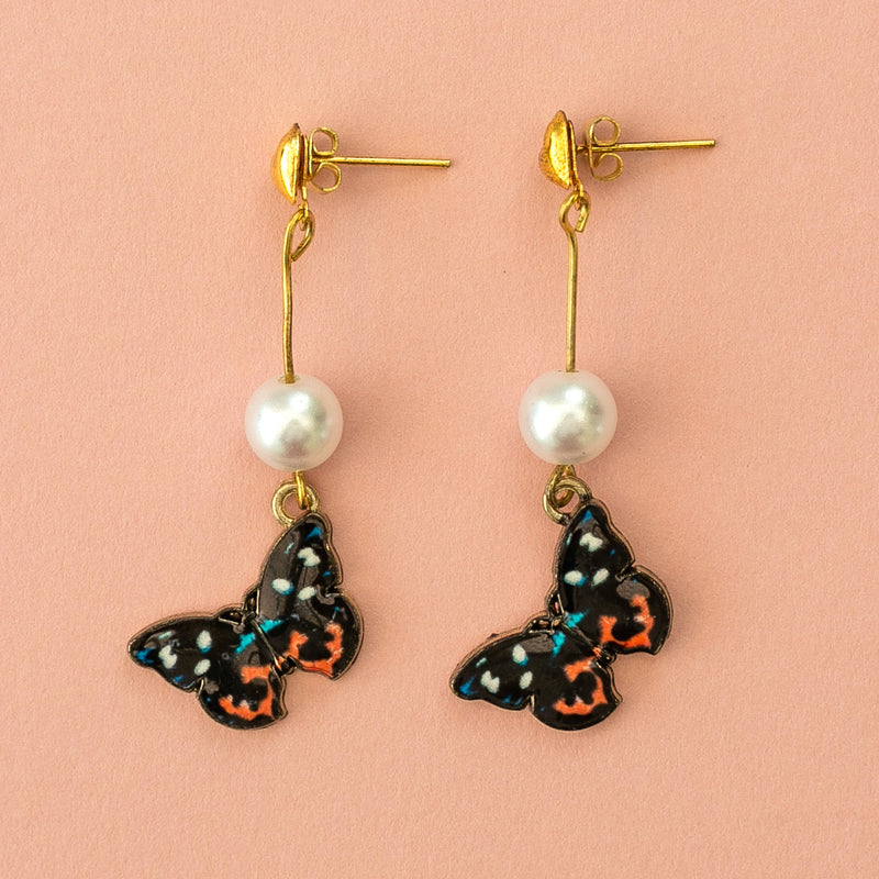 Black Butterfly Stud Earrings - Sour Cherry