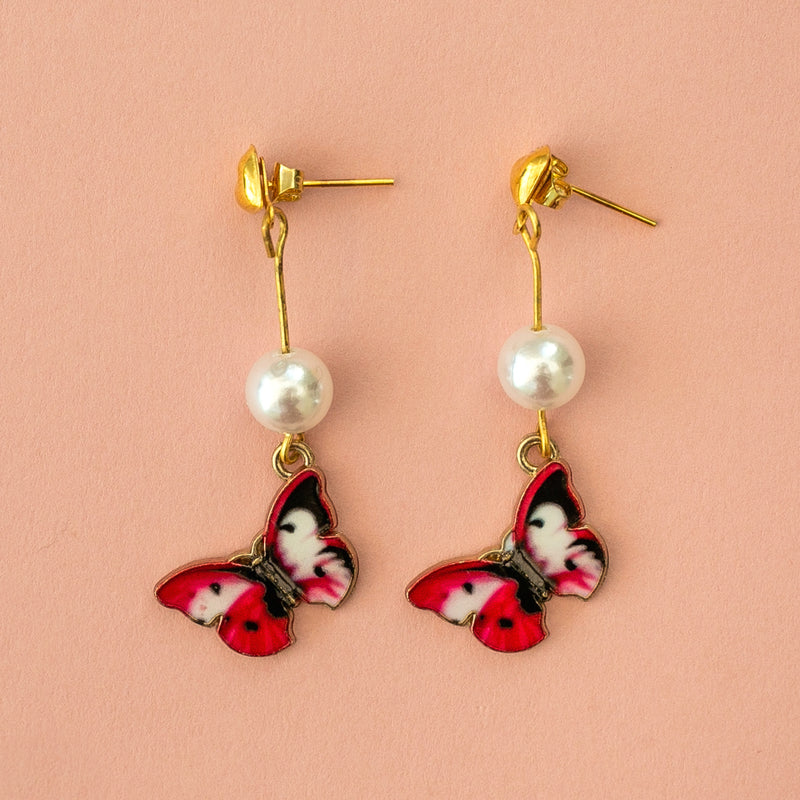 Red Butterfly Stud Earrings - Sour Cherry