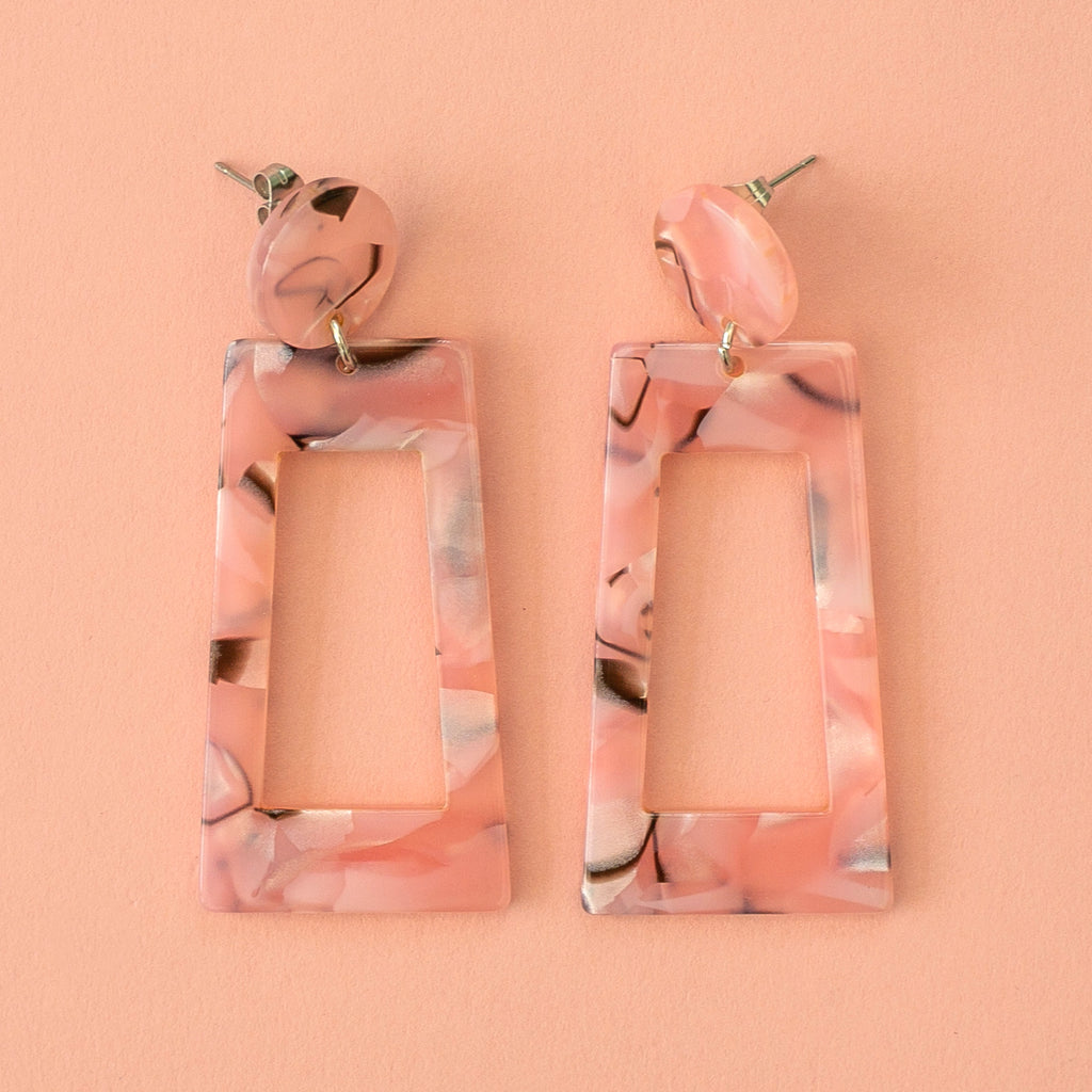 Pink Marble Cut Out Earrings - Sour Cherry
