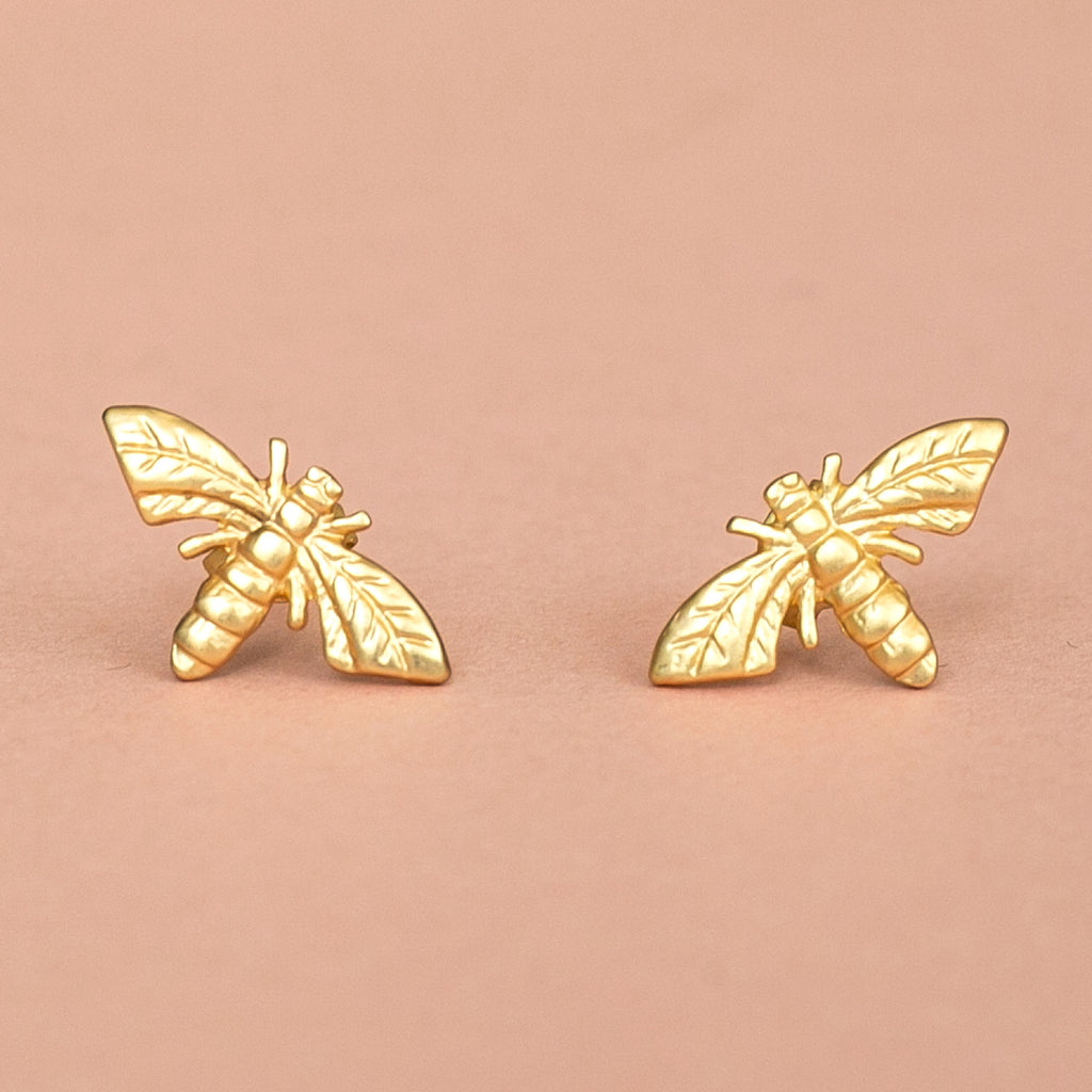 Honey Bee Stud Earrings (Gold Plated)