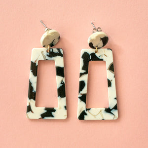 Black & White Marble Cut Out Earrings - Sour Cherry