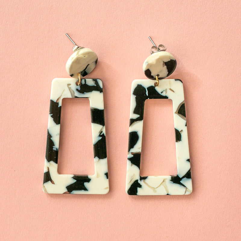 Black & White Marble Cut Out Earrings