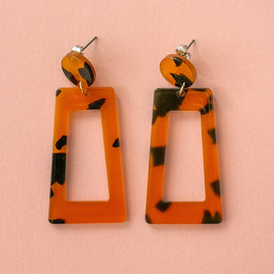 Tortoiseshell Cut Out Earrings - Sour Cherry