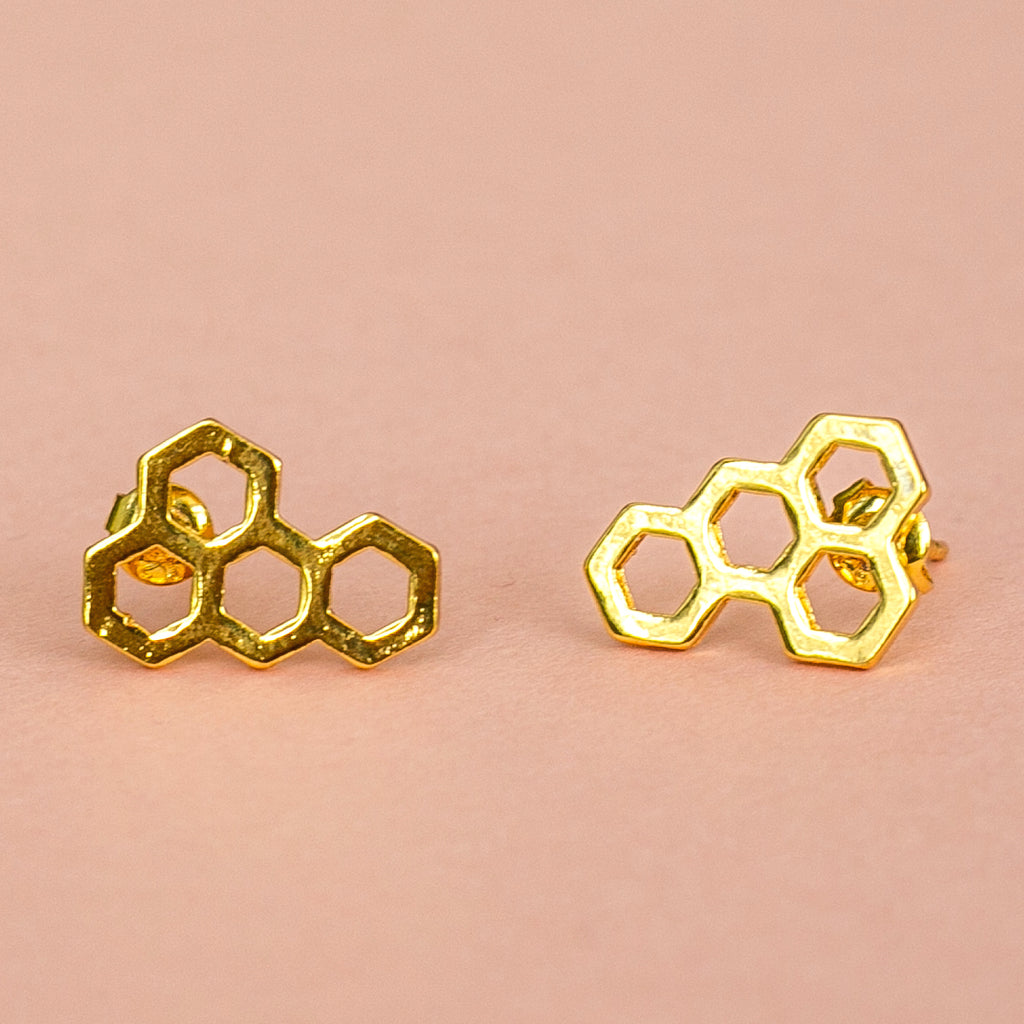 Honeycomb Stud Earrings (Gold Plated) - Sour Cherry