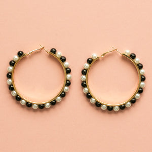 Black & White Pearl Hoop - Sour Cherry