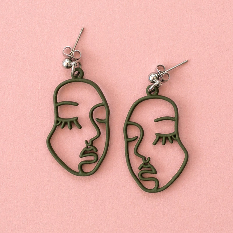 Large Face Earrings (Olive Green) - Sour Cherry