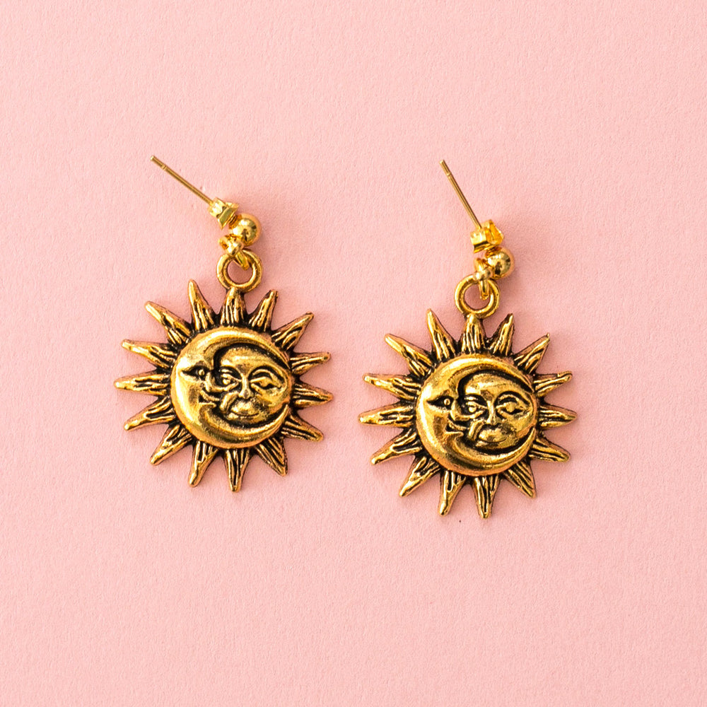 Moon & Sun Stud Earrings (Gold Plated) - Sour Cherry
