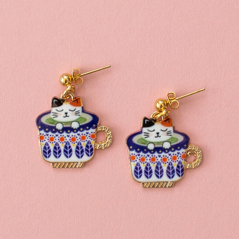 Purple Teacup Cat Earrings