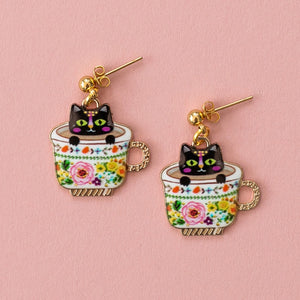 Floral Teacup Cat Earrings - Sour Cherry