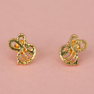 Bee Stud Earrings (Gold Plated) - Sour Cherry