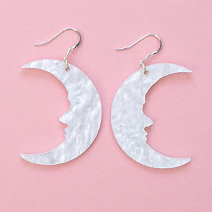 Large White Marble Moon Earrings - Sour Cherry