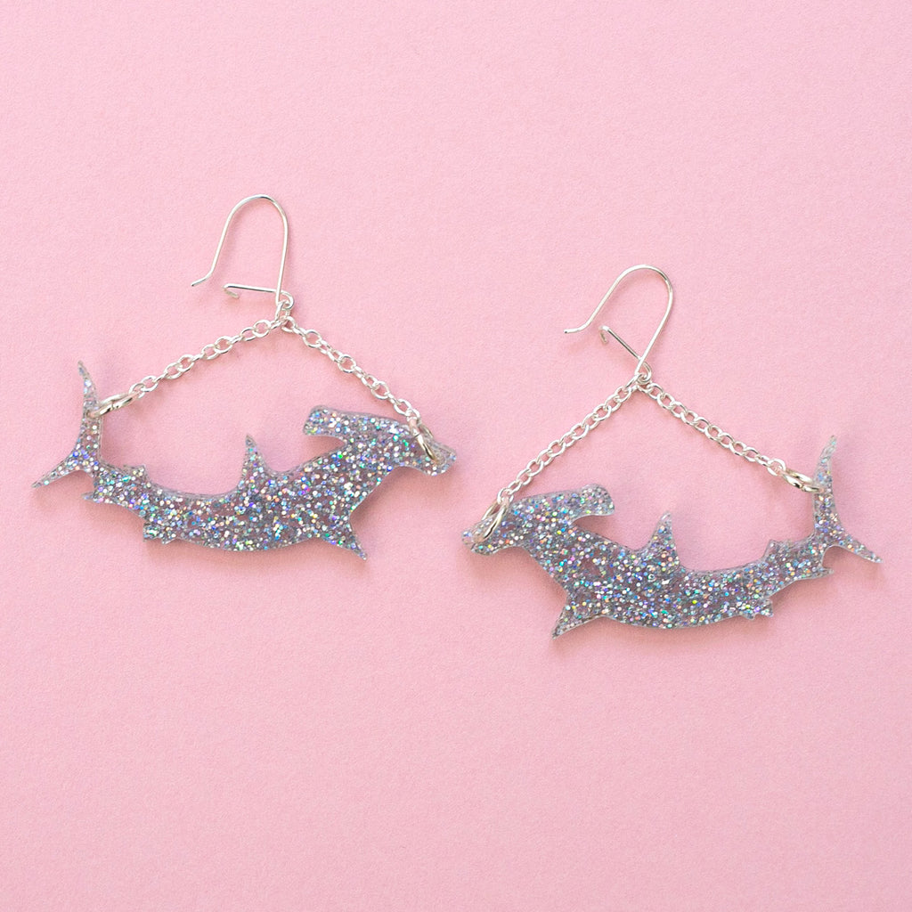 Holographic Hammerhead Shark Earrings - Sour Cherry