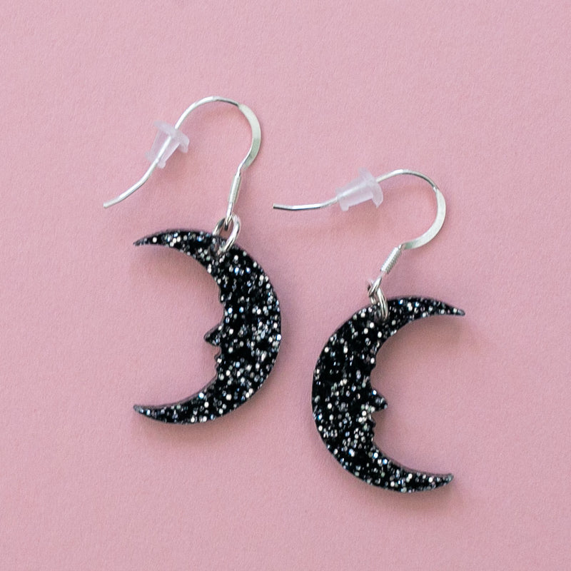 Small Black Glitter Moon Earrings - Sour Cherry