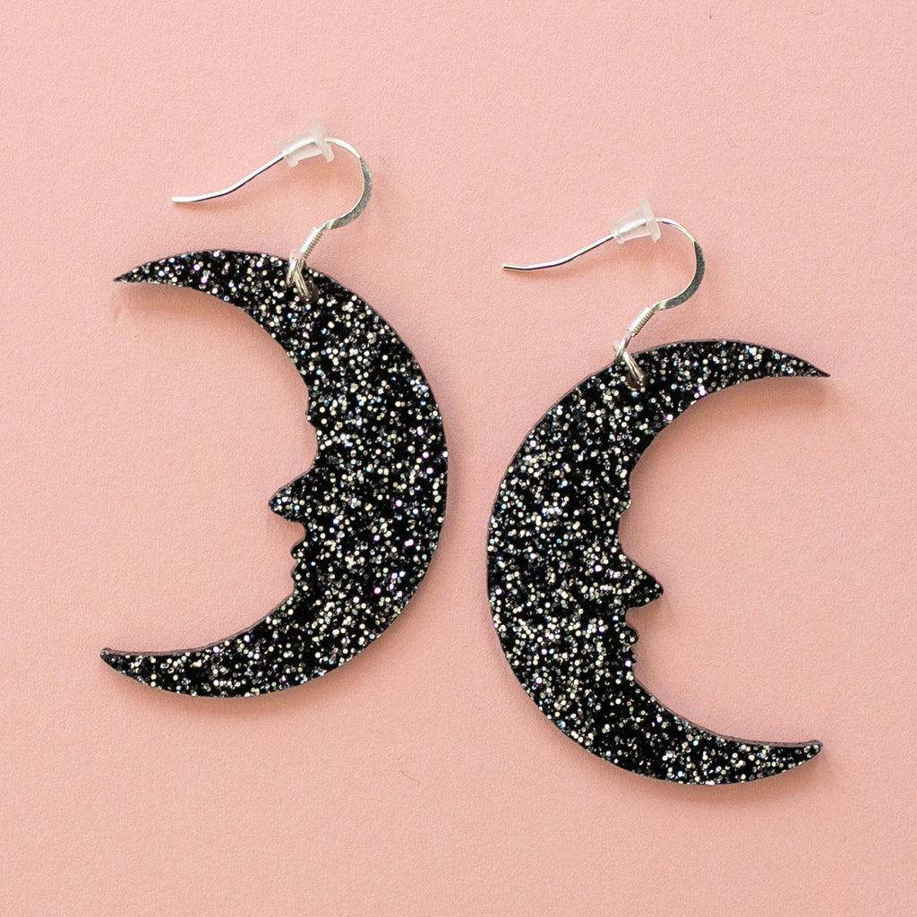 Large Black Glitter Moon Earrings - Sour Cherry