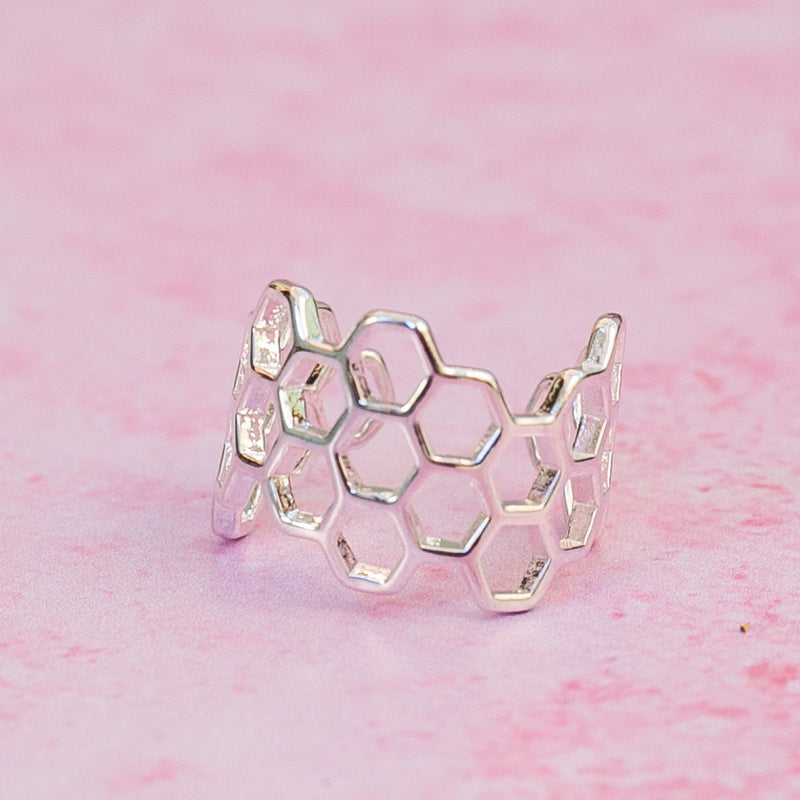 Large Honeycomb Ring (Silver Plated)