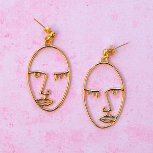 Face Earrings (Gold Plated) - Sour Cherry