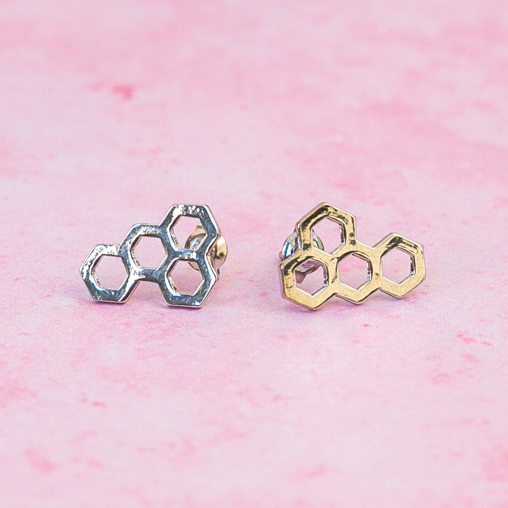 Honeycomb Stud Earrings - Sour Cherry