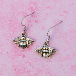 Antique Silver Bee Drop Earrings - Sour Cherry