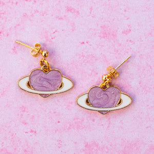 Lilac Heart Planet Studs - Sour Cherry