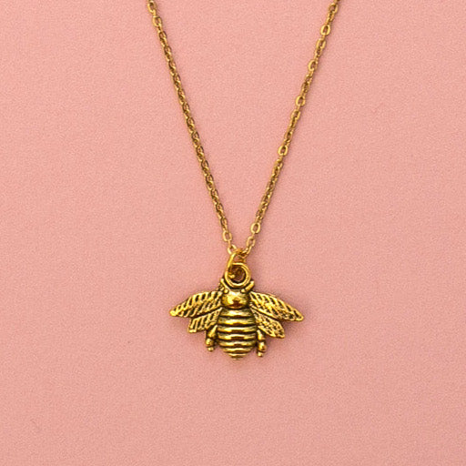 Antique Gold Bee Necklace - Sour Cherry