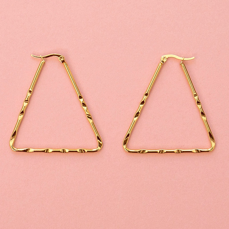 Triangle Carved Hoop Earrings (Gold Plated)