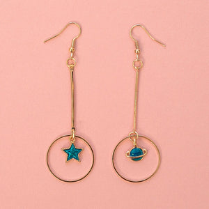Planet and Star Drop Earrings - Sour Cherry