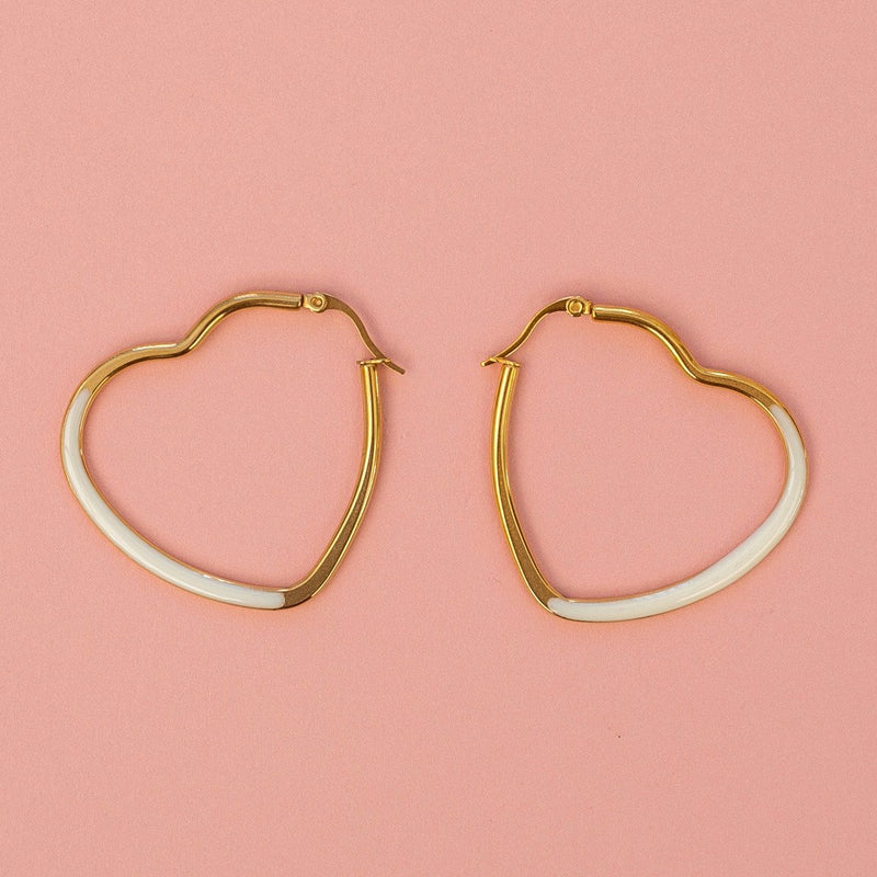 White Enamel Heart Hoop Earrings - Sour Cherry