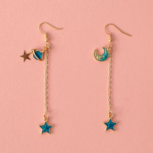 Planet Moon & Star Drop Earrings